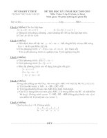 Đề thi và đáp án học kì 1 môn toán lớp 10,11 THPT TRẦN VĂN KỶ