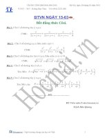 Các bài toán bất đẳng thức côsi (Bài tập và hướng dẫn giải)