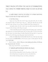 THỰC TRẠNG VỀ CÔNG TÁC QUẢN LÝ MARKETING TẠI CÔNG TY TNHH THƯƠNG MẠI VÀ SẢN XUẤT HÀ VŨ