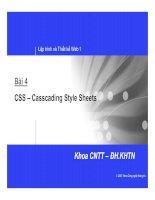 Bài 4 CSS – Casscading Style Sheets