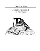 CRITICAL THINKING IS CRITICAL