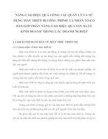 NÂNG CAO HIỆU QUẢ CÔNG TÁC QUẢN LÝ VÀ SỬ DỤNG MÁY THIẾT BỊ CÔNG TRÌNH  LÀ NHÂN TỐ CƠ BẢN GÓP PHẦN NÂNG CAO HIỆU QUẢ SẢN XUẤT KINH DOANH TRONG CÁC DOANH NGHIỆP