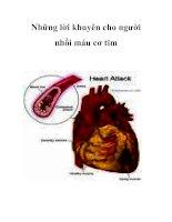 Những lời khuyên cho người nhồi máu cơ tim