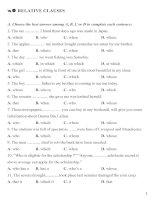 Bài tập ngữ pháp Tiếng anh 11 - Học kì 2