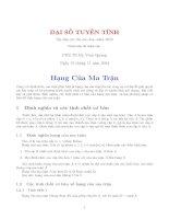 Ôn thi cao hoc đại số tuyến tính bài 4 - PGS TS Vinh Quang