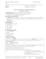 GIÁO ÁN TIẾNG ANH 8 - TUẦN 12 - PPCT MỚI NHẤT - THÁI BÌNH