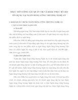 THỰC TIỄN CÔNG TÁC QUẢN TRỊ VÀ KHẮC PHỤC RỦI RO TÍN DỤNG TẠI NGÂN HÀNG CÔNG THƯƠNG NGHỆ AN