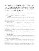 MỘT SỐ KIẾN NGHỊ NHẰM HOÀN THIỆN CÔNG TÁC TỔ CHỨC KẾ TOÁN CP SẢN XUẤT VÀ TÍNH GIÁ THÀNH SẢN PHẨM Ở CÔNG TY XÂY DỰNG VÀ PHÁT TRIỂN NÔNG THÔN