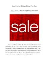 Con Đường Thành Công Của Bạn Nghề Sales - Bán hàng bằng cả trái tim
