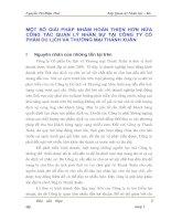 MỘT SỐ GIẢI PHÁP NHẰM HOÀN THIỆN HƠN NỮA CÔNG TÁC QUẢN LÝ NHÂN SỰ TẠI CÔNG TY CỔ PHẦN DU LỊCH VÀ THƯƠNG MẠI THANH XUÂN