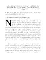 TÌNH HÌNH HOẠT ĐỘNG CUNG CẤP DỊCH VỤ VÀ KẾT QUẢ HOẠT ĐỘNG KINH DOANH TẠI NGÂN HÀNG  CÔNG THƯƠNG HAI BÀ TRƯNG