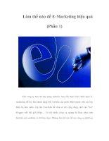 Làm thế nào để E-Marketing hiệu quả (Phần 1)