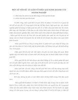 MỘT SỐ VẤN ĐỀ  LÝ LUẬN VỀ HIỆU QUẢ KINH DOANH CỦA DOANH NGHIỆP
