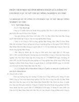 PHÂN TÍCH MỘT SỐ TÌNH HÌNH CƠ BẢN CỦA CÔNG TY CỔ PHẦN VẬT TƯ KỸ THUẬT NÔNG NGHIỆP CẦN THƠ