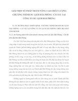 GIẢI MỘT SỐ PHÁP NHẰM NÂNG CAO CHẤT LƯỢNG CHƯƠNG TRÌNH DU LỊCH HẢI PHÒNG  CÁT BÀ TẠI CÔNG TY DU LỊCH HẢI PHÒNG