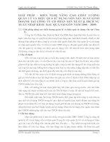 GIẢI PHÁP – KIẾN NGHỊ NÂNG CAO CHẤT LƯỢNG QUẢN LÝ VÀ HIỆU QUẢ SỬ DỤNG VỐN SẢN XUẤT KINH DOANH TẠI CÔNG TY CỔ PHẦN SẢN XUẤT & DỊCH VỤ XUẤT NHẬP KHẨU RAU QUẢ SÀI GÒN NĂM 2008 – 2009.