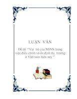 Đề tài ''Vai trò của NSNN trong việc điều chỉnh và ổn định thị trường ở Việt nam hiện nay ''