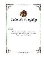 """Luận văn tốt nghiệp """"Thanh toán không dùng tiền mặt tại Ngân hàng Công thương tỉnh Nam Định. Thực trạng và giải pháp"""""""
