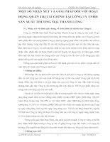 MỘT SỐ NHẬN XÉT VÀ GIẢI PHÁP ĐỐI VỚI HOẠT ĐỘNG QUẢN TRỊ TÀI CHÍNH TẠI CÔNG TY TNHH SẢN XUẤT THƯƠNG MẠI THANH LONG