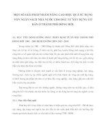 MỘT SỐ GIẢI PHÁP NHẰM NÂNG CAO HIỆU QUẢ SỬ DỤNG VỐN NGÂN SÁCH NHÀ NƯỚC CHO ĐẦU TƯ XÂY DỰNG CƠ BẢN Ở THÀNH PHỐ ĐỒNG HỚI