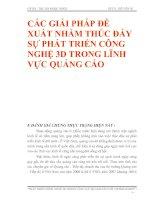 CÁC GIẢI PHÁP ĐỀ XUẤT NHẰM THÚC ĐẨY SỰ PHÁT TRIỂN CÔNG NGHỆ 3D TRONG LĨNH VỰC QUẢNG CÁO