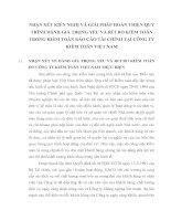 NHẬN XÉT KIẾN NGHỊ VÀ GIẢI PHÁP HOÀN THIỆN QUY TRÌNH ĐÁNH GIÁ TRỌNG YẾU VÀ RỦI RO KIỂM TOÁN TRONG KIỂM TOÁN BÁO CÁO TÀI CHÍNH TẠI CÔNG TY KIỂM TOÁN VIỆT NAM