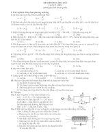 Đề thi học kỳ I (Vật lý 9 có ĐA)