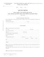 BTP-NGHT-2007-TDCC.2.a _ Quyết định thay đổi, cải chính hộ tịch, xác định lại dân tộc, xác định lại giới tính (Bản sao)