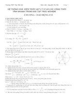 HỆ THỐNG HOÁ KIẾN THỨC vật lý 12 và các CÔNG THỨC TÍNH NHANH TRONG bài tập