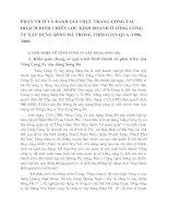 PHÂN TÍCH VÀ ĐÁNH GIÁ THỰC TRẠNG CÔNG TÁC HOẠCH ĐỊNH CHIẾN LƯỢC KINH DOANH Ở TỔNG CÔNG TY XÂY DỰNG SÔNG ĐÀ TRONG THỜI GIAN QUA (1996-2000)