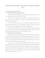 CƠ SỞ LÍ LUẬN VỀ QUẢN TRỊ NHÂN LỰC TRONG KHÁCH SẠN