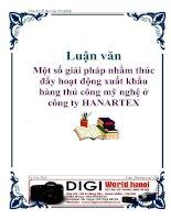 Luận văn: Một số giải pháp nhằm thúc đẩy hoạt động xuất khẩu hàng thủ công mỹ nghệ ở công ty HANARTEX