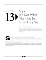 Style - It's Not What They Say but How They Say It