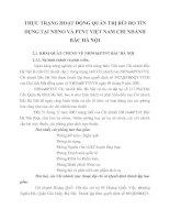 THỰC TRẠNG HOẠT ĐỘNG QUẢN TRỊ RỦI RO TÍN DỤNG TẠI NHNO VÀ PTNT VIỆT NAM CHI NHÁNH BẮC HÀ NỘI
