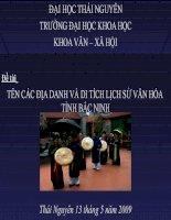 Tên các địa danh và di tích lịch sử văn hóa tỉnh Bắc Ninh