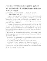 TÌNH HÌNH THỰC TIỄN VỀ CÔNG TÁC QUẢN LÝ RỦI RO TÍN DỤNG TẠI NGÂN HÀNG Á CHÂU –CHI NHÁNH SÀI GÒN