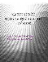 XÂY DỰNG HỆ THỐNG ĐỀ KIỂM TRA ĐẠI SỐ VÀ GIẢI TÍCH 11 NÂNG CAO