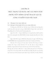 THỰC TRẠNG VẬN DỤNG THỦ TỤC PHÂN TÍCH TRONG TIẾN TRÌNH LẬP KẾ HOẠCH TẠI CÁC CÔNG TY KIỂM TOÁN VIỆT NAM