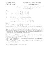 Đề và đáp án thi HSG cấp trường - Toán lớp 7