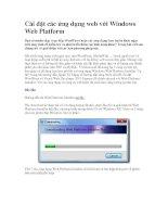 Cài đặt các ứng dụng web với Windows Web Platform-P1