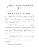 CÁC GIẢI PHÁP NHẰM NÂNG CAO HIỆU QUẢ HOẠT ĐỘNG XÚC TIẾN HỖN HỢP CỦA CÔNG TY TNHH VIỆT THÀNH