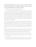 XÁC ĐỊNH HỆ THỐNG CHỈ TIÊU VÀ MỘT SỐ PHƯƠNG PHÁP THỐNG KÊ ĐỂ ĐÁNH GIÁ VÀ PHÂN TÍCH HIỆU QUẢ HOẠT ĐỘNG SẢN XUẤT KINH DOANH CỦA DOANH NGHIỆP