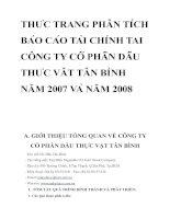 THỰC TRẠNG PHÂN TÍCH BÁO CÁO TÀI CHÍNH TẠI CÔNG TY CỔ PHẦN DẦU THỰC VẬT TÂN BÌNH NĂM 2007 VÀ NĂM 2008