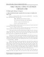 Thực trạng  công ty cổ phần chè Kim Anh
