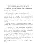 HỆ THỐNG CHỈ TIÊU VÀ CÁC PHƯƠNG PHÁP THỐNG KÊ PHÂN TÍCH HOẠT ĐỘNG TÍN DỤNG NGÂN HÀNG