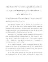 GIẢI PHÁP NÂNG CAO CHẤT LƯỢNG TÍN DỤNG TRUNG  DÀI HẠN TẠI SỞ GIAO DỊCH I NGÂN HÀNG ĐẦU TƯ VÀ PHÁT TRIỂN VIỆT NAM
