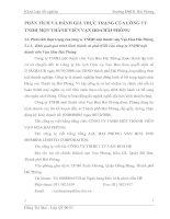 PHÂN TÍCH VÀ ĐÁNH GIÁ THỰC TRẠNG CỦA CÔNG TY TNHH MỘT THÀNH VIÊN VẠN HOA HẢI PHÒNG