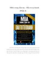 MBA trong tầm tay - Đầu tư tự doanh (Phần 4)