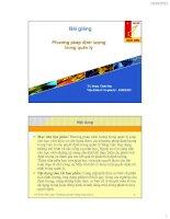 Bài giảng phương pháp định lượng trong quản lý Đại học Bách Khoa