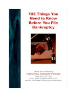 102 things you need to know before you lile Bankruptcy